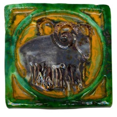 Danish Mid-Century Modern Green and Yellow Glazed Terracotta Plaque by Bangholm