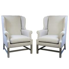 Pair of Vintage Mahogany Wingback Chairs with Painted Legs and Stretchers