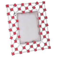 Italian Modern Enamel Red Flowers Picture Frame, La Dolce Vita