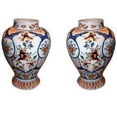 Urns Pair Flowers French 18th Century Faiance France