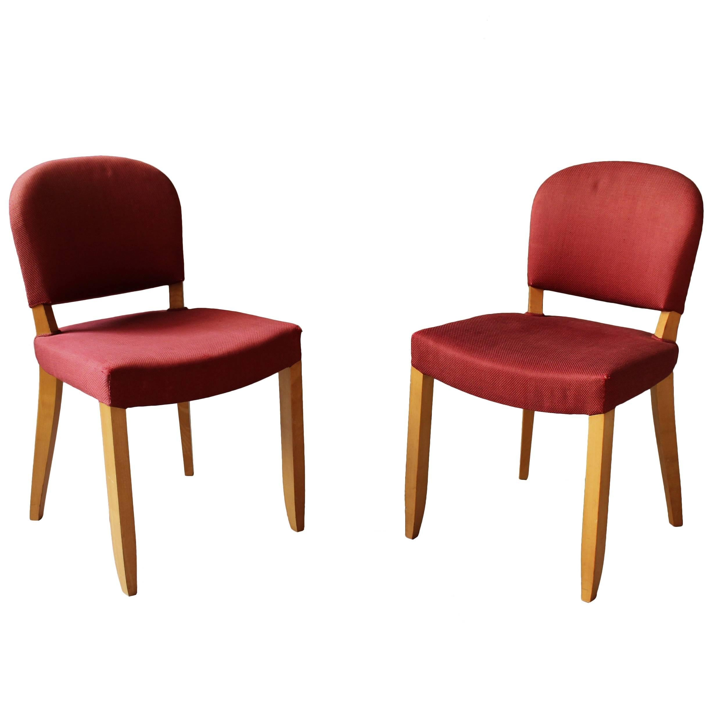 Pair of Fine French Art Deco Sycamore Chairs by Leleu