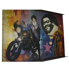 Vintage-Kirmes-Banner mit abgebildeten Künstlern Prince & Tina Turner