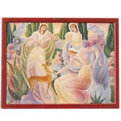 """""""Garlanding the Fawn with Pearls,"""" Art Deco Masterpiece, Large Ceramic Panel"""