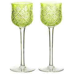 12 Baccarat Cut Crystal Wine Goblets in Chartreuse