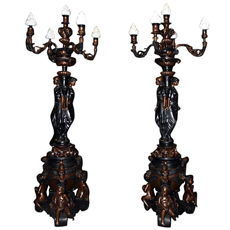 Huge Pair French Empire Bronze Classical Lady Lamps
