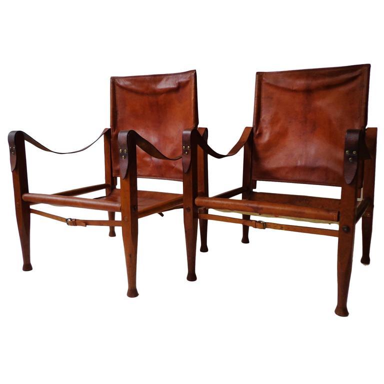 "Pair of Kaare Klint ""Safari Chairs"" in Cognac Niger leather for Rud Rasmussen For Sale"