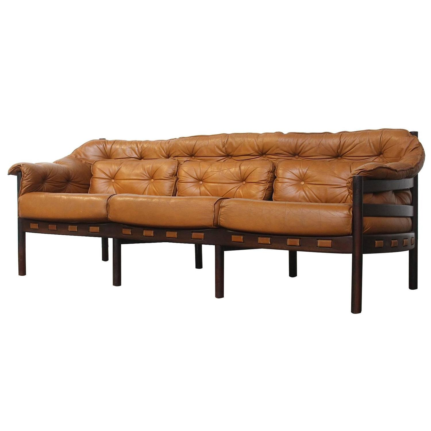 Tufted Leather Camel Colored Three-Seat Arne Norell Sofa ...