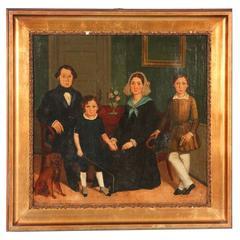 Antique Original Oil on Canvas Painting, Family Portrait, Denmark, 1820-1840