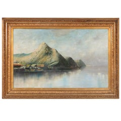 Antique Oil on Canvas Painting of Norwegian Sea Harbor and Mountains, circa 1890