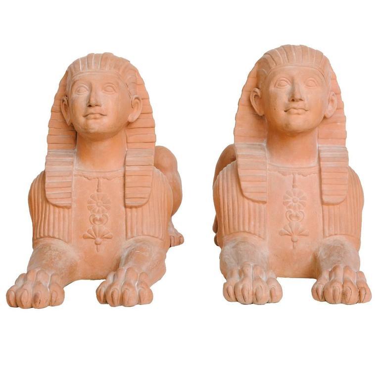 Pair of Italian Terracotta Sphinx