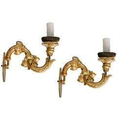 Pair of Gilded Sconces from Arezzo, Italy