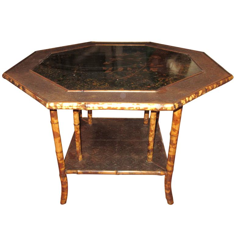 Magnificent Late 19th Century Faux Tortoiseshell and Chinoiserie Center Table 1