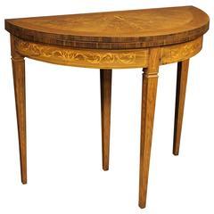 20th Century Italian Inlaid Half Moon Table