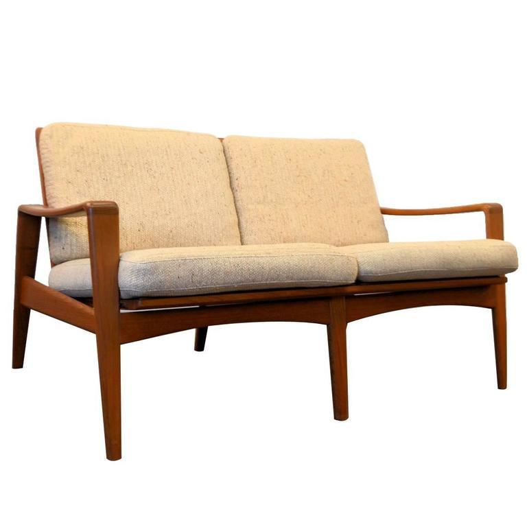 arne wahl iversen two seating teak sofa at 1stdibs. Black Bedroom Furniture Sets. Home Design Ideas