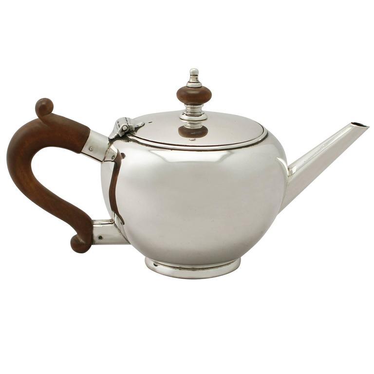 Sterling Silver Bachelor Teapot, George I Style, Vintage Elizabeth II