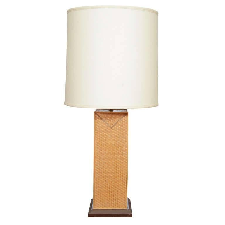Fine Straw-Marquetry Lamp in the Manner of Jean Michel Frank