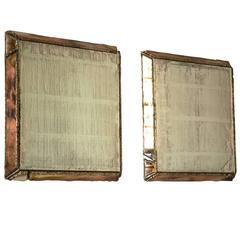Wall Mirror Silver Glass Pure Silver Powder Hammered Edge Sabrina Landini
