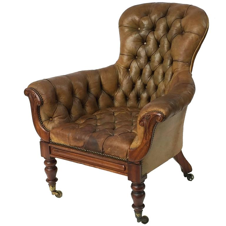 English Wingback Chair of Tufted Leather from the George IV Period 1 - English Wingback Chair Of Tufted Leather From The George IV Period