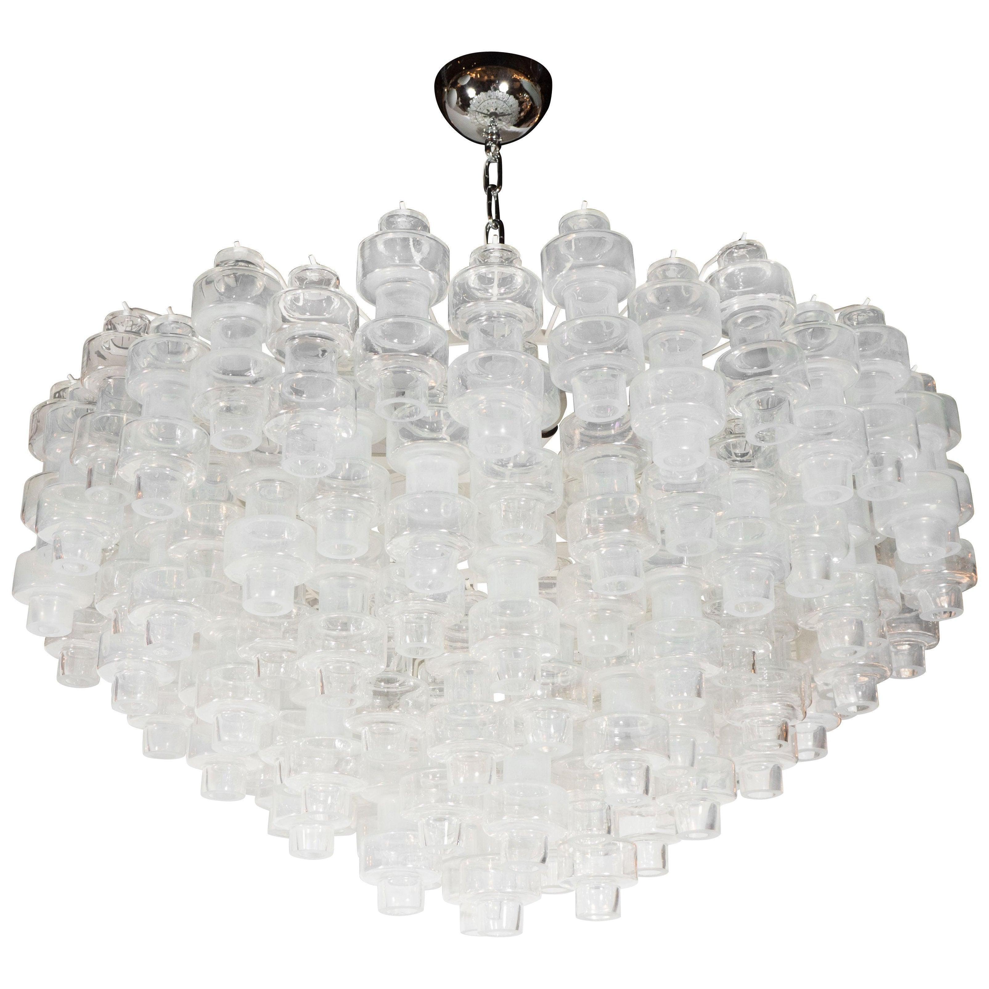 Modernist Opalescent & Clear Handblown Murano Glass Barbell Chandelier