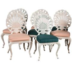 Set of Eight Shell Back Dining Chairs
