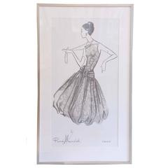 Oversized Framed Poster of Parisian Fashion Sketch from Renee Marciel