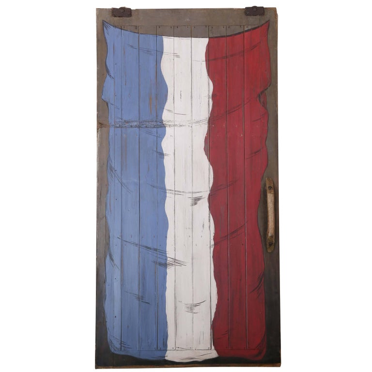 Large Antique French Barn Door with Flag of France Painting For Sale