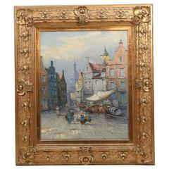 """""""Amsterdam Market"""" Oil Painting by George Fischer with Gilt Frame"""