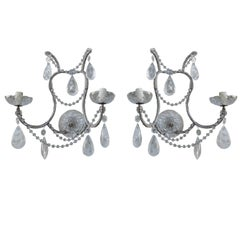 Pair of Rock Crystal Two-Light Sconces