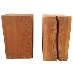 Pair of Vintage Organic Wood Stumps