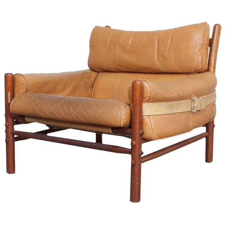 Arne Norell Quot Kontiki Quot Leather Safari Chair At 1stdibs