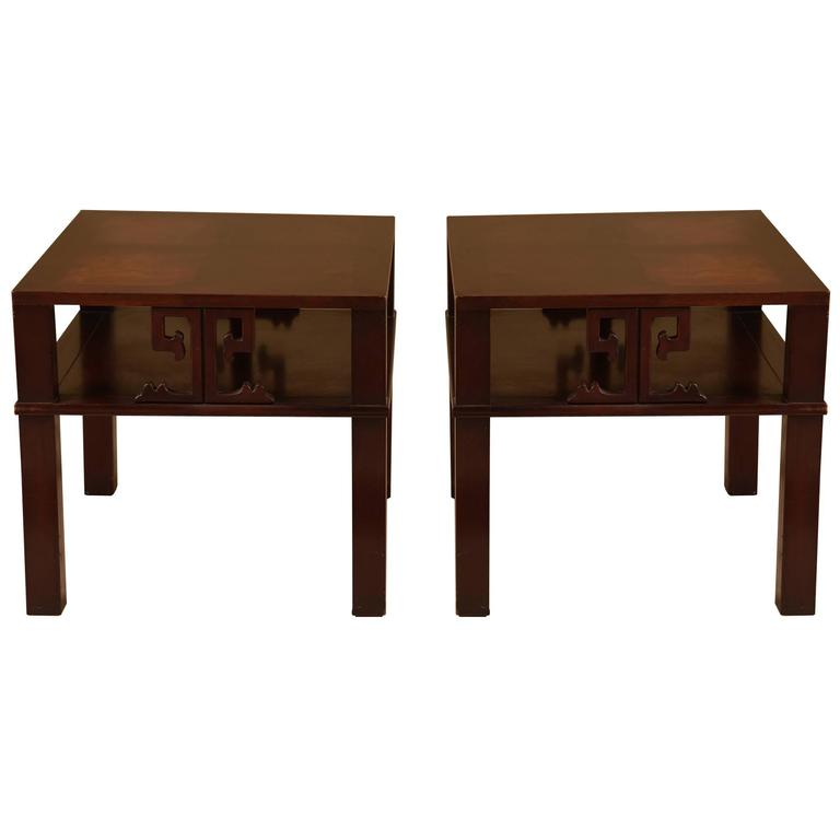 Pair of James Mont Style Mid-Century Modern Mahogany End Tables For Sale