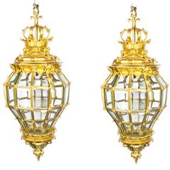 Pair of Versailles Massive Bronze Diamond Baluster Lanterns