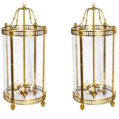 Pair of Massive Brass Oval Sheraton Style Six-Light Lanterns