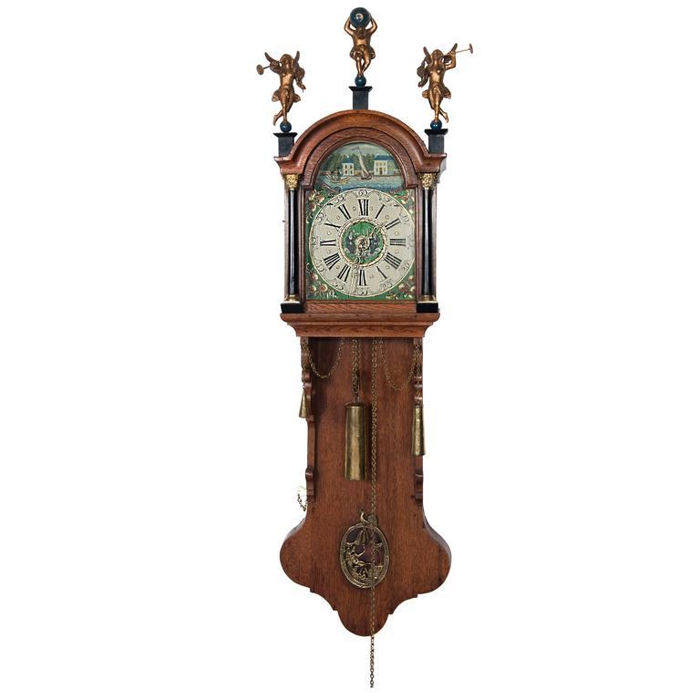 Dutch Miniature Friesland Longtail Wall Clock Circa 1860