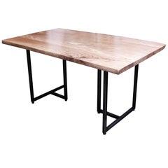 Live Edge Walnut Table with Mid-Century Modern Style Black Steel Legs