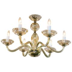 Vintage Murano Chandelier with Six Arms