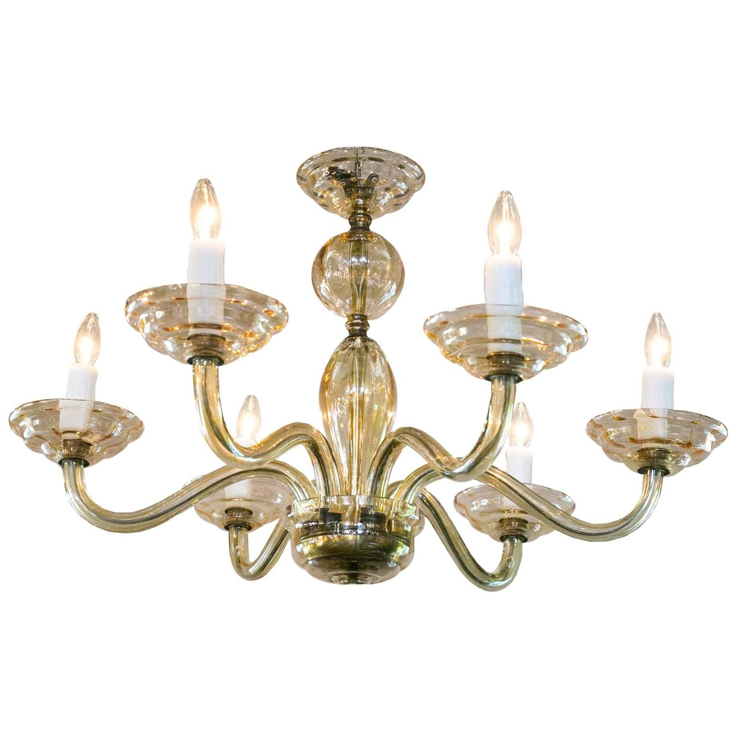 Vintage Murano Chandelier With Six Arms For Sale At 1stdibs