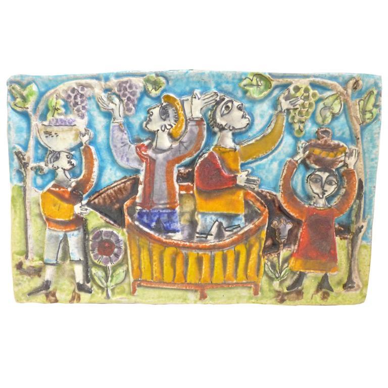 Viticulture Majolica Plaque by Giovanni de Simone For Sale