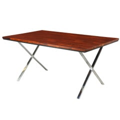 Mid Century Rosewood Dining Table with X Chrome Base