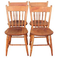 Signed Nichols and Stone Thumb Back Windsor Chairs / Set of Four