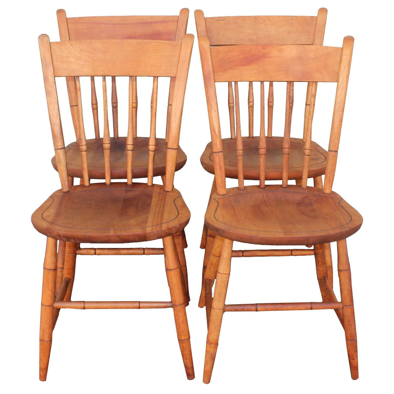Signed Nichols and Stone Thumb Back Windsor Chairs Set of Four
