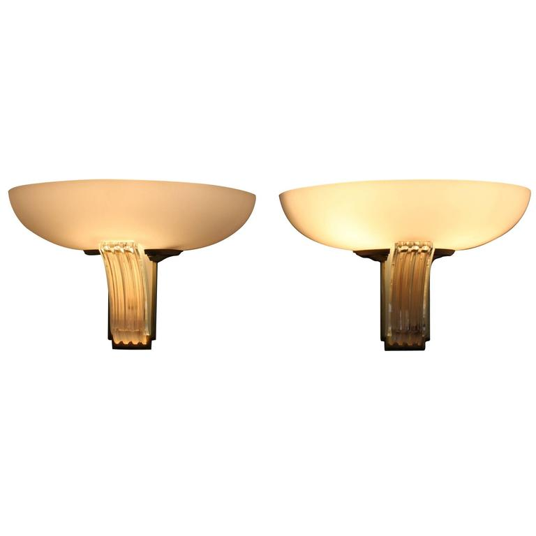 Pair of fine french art deco glass sconces by jean perzel for sale