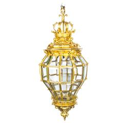 Versailles Massive Bronze Diamond Baluster 3 Light Lantern