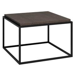 Empty Cube Side Table in Black Iron and Leather by Cristina Jorge de Carvalho