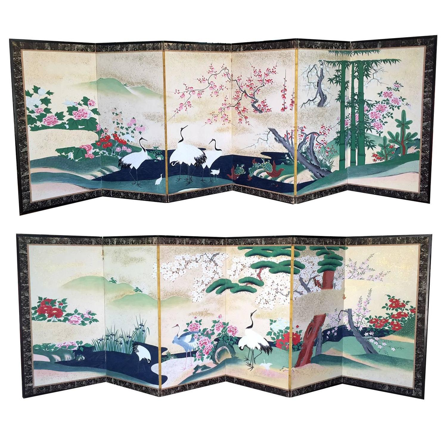 Antique japanese screens for sale - Pair Of Rare Antique Japanese Folding Screens With Provenance For Sale At 1stdibs