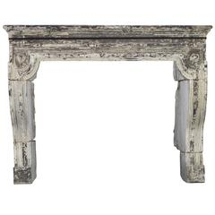 17th Century Rustic Antique Fireplace Mantel in Limestone