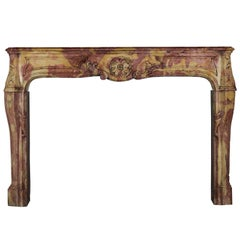 17th Century Antique Fireplace Mantle in Burgundy Hard Stone