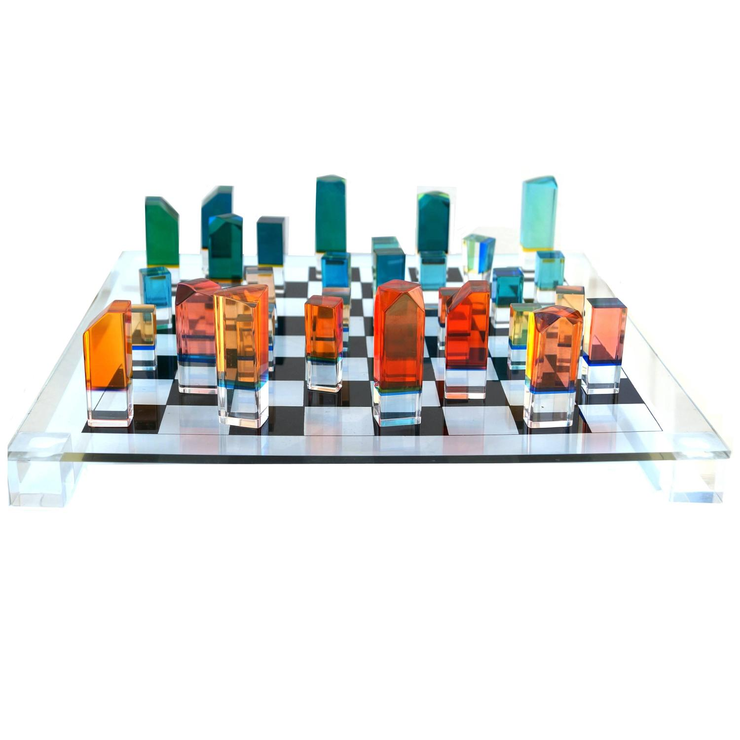 Mid Century Modern Chess Game Board Set With Lucite Pieces