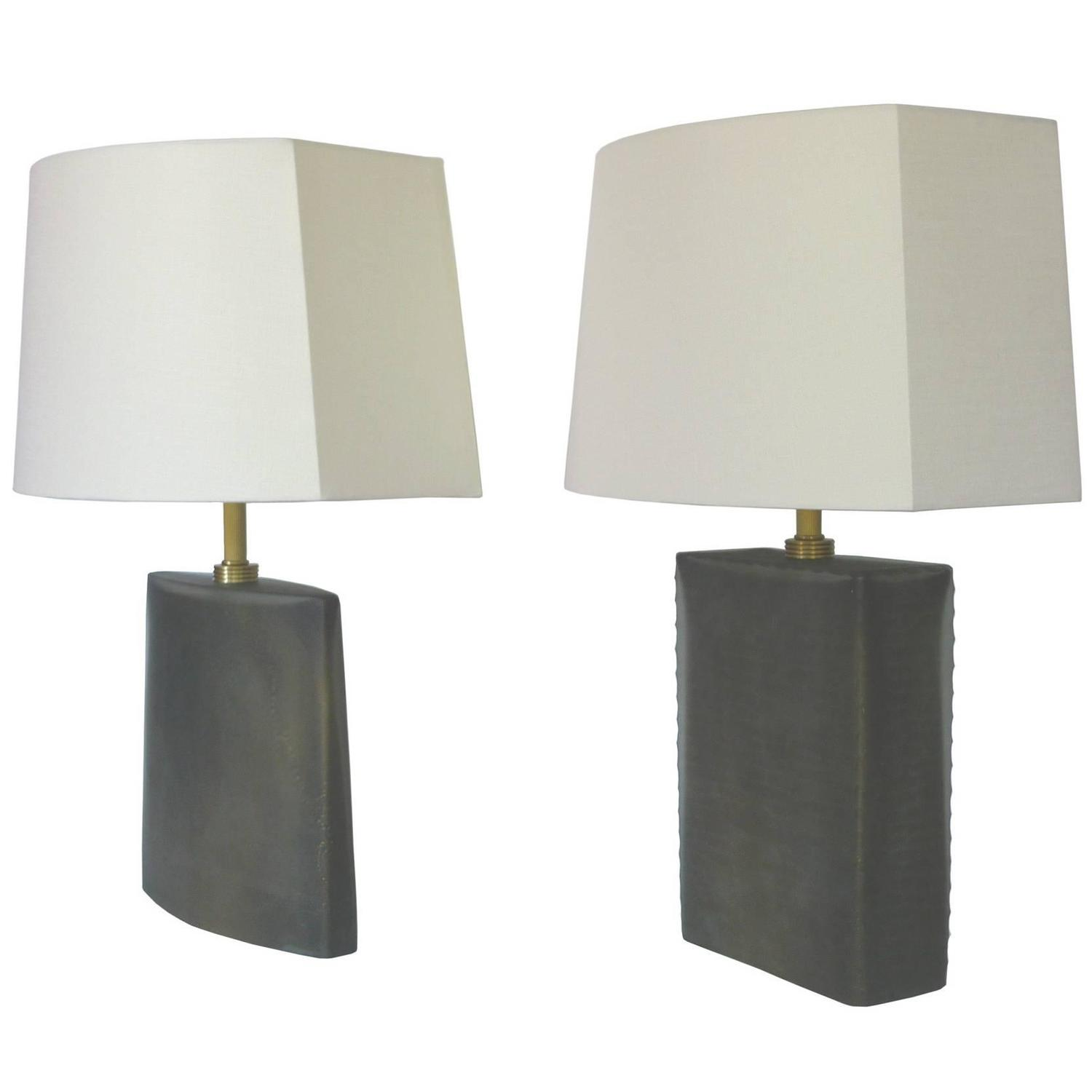 donghia frosted glass table lamps a matching set for sale. Black Bedroom Furniture Sets. Home Design Ideas