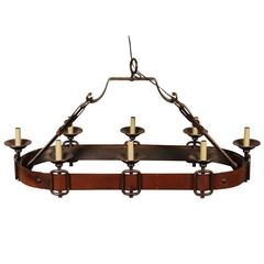 Equestrian Wrought Iron/Leather Chandelier